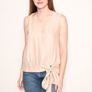 AMANDA UPRICHARD V-Neck Beige Silk Lila Top